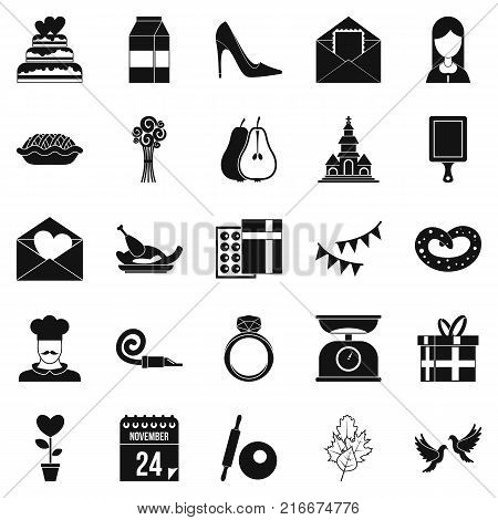 Romantic entertainment icons set. Simple set of 25 romantic entertainment vector icons for web isolated on white background