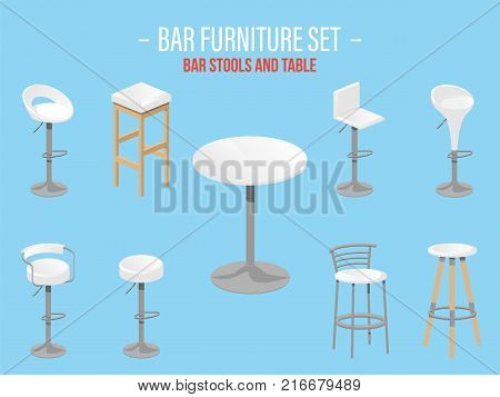 Set of bar stools and table. Bar high chair. Bar furniture set. Vector illustration