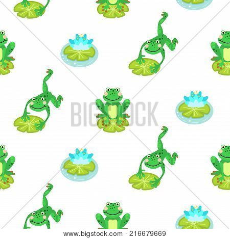 Frogs cartoon green seamless vector pattern and water lily illustration.