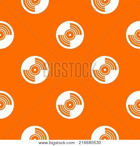 Gramophone vinyl LP record pattern repeat seamless in orange color for any design. Vector geometric illustration