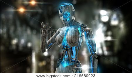 3d render of a female robot android character