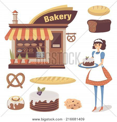 Bakery set with pastry store building, baked goods, girl baker or waitress character. Loaf of white bread, brick-bread, cake, french baguette, pretzel. Cartoon flat food. Vector isolated on white.