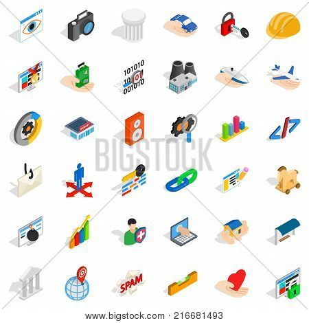 Www link icons set. Isometric style of 36 www link vector icons for web isolated on white background