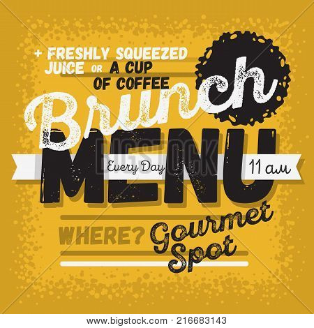 Brunch Menu Vintage Influenced Typographic Poster Design For Restaurants. Vector Graphic.