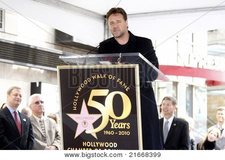 LOS ANGELES - APR 12: Russell Crowe at a ceremony where Russell Crowe is honored with the 2404th star on the Hollywood Walk  of Fame, Los Angeles, California on April 12, 2010