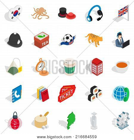 Excellent health icons set. Isometric set of 25 excellent health vector icons for web isolated on white background