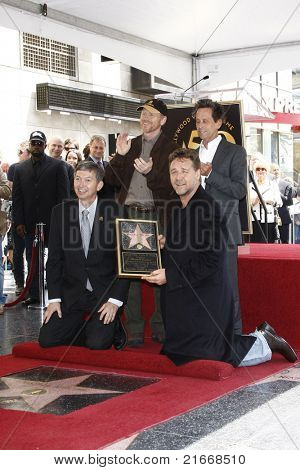 LOS ANGELES - APR 12: Leron Gubler, Russell Crowe, Brian Grazer, Ron Howard at a ceremony where Russell Crowe is honored with the 2404th star on the Walk of Fame, Los Angeles, CA on April 12, 2010