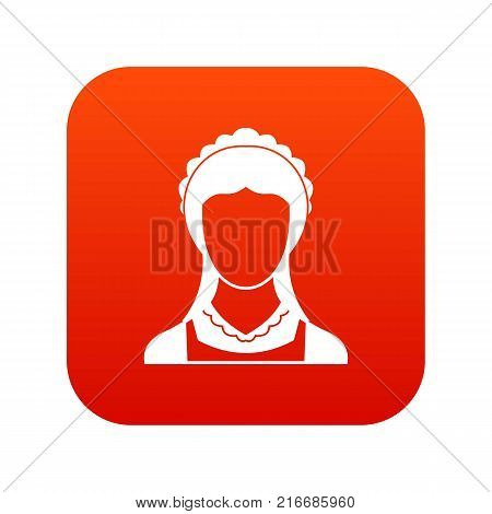 Cleaning household service maid icon digital red for any design isolated on white vector illustration