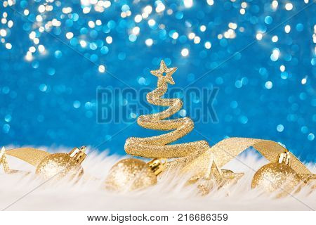 Christmas Tree - Blue Glitter sparkling In The Red Background