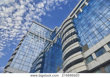 MOSCOW, AUG, 22,2017: View on Moscow biggest business center Moscow City skyscrapers tower. Glass and metal office architecture. Blue sky reflection in office.  buildings windows. Modern architecture