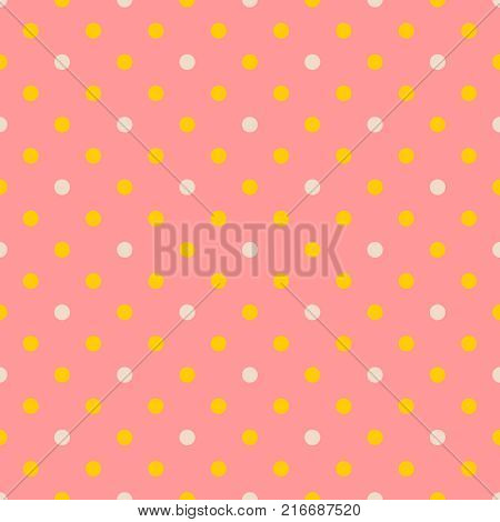 Tile vector pattern with white and yellow polka dots on pastel coral orange background