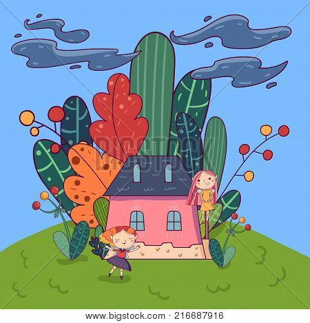 Fairytale landscape with cute pixie girls and little pink house surrounded by different plants. Doodle fantasy land. Colorful vector illustration in kid s cartoon style. Design for book cover or card.