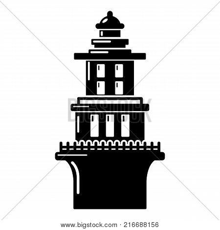 Marine lighthouse icon. Simple illustration of marine lighthouse vector icon for web