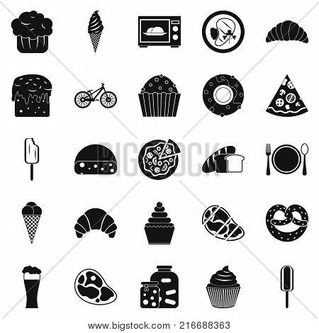 Fatty food icons set. Simple set of 25 fatty food vector icons for web isolated on white background