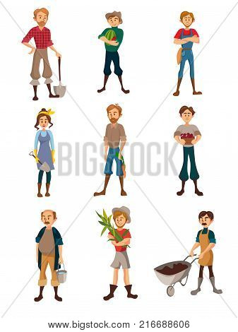 Farmers at work set, gardeners with different agricultural tools, farmer harvesting crop, agriculture farming concept cartoon vector Illustration on a white background
