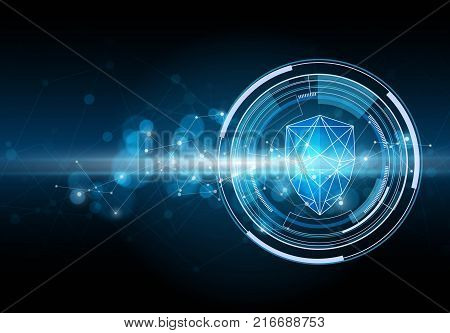 Network security shield. Cyber security concept. Vector illustration