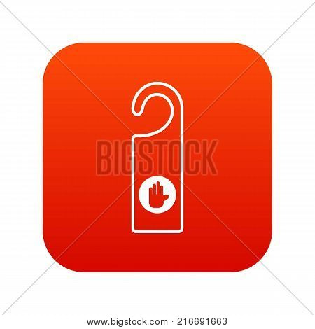 Do not disturb sign icon digital red for any design isolated on white vector illustration
