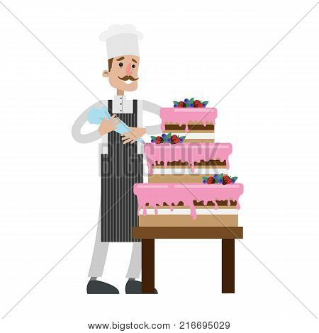 Isolated male chef decorating cake on white.
