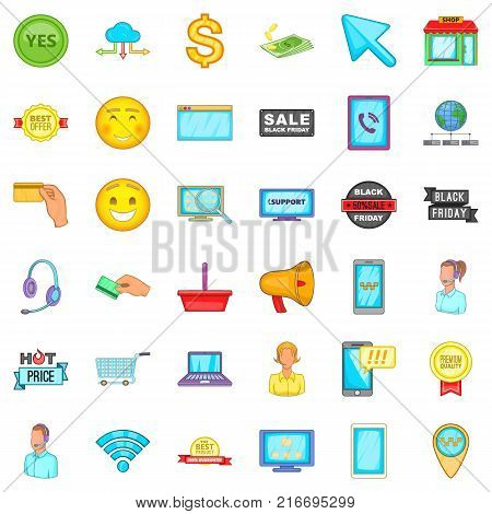 Internet shopping icons set. Cartoon style of 36 internet shopping vector icons for web isolated on white background