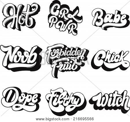 Vector handwritten lettering. Collection of pins for girls. Template for card poster banner print for t-shirt badge logotype.