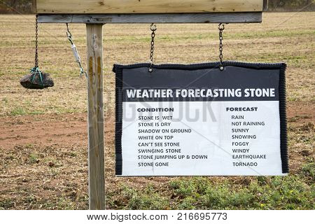 Humorous sign for weather forecasting in Prince Edward Island Canada.