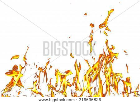 Fire flames on a white background . Photo of an abstract texture