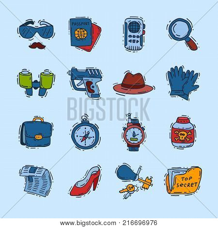 Spy icons vector cartoon detective set mafia agent binoculars or spyglass for spying or secret investigation illustration isolated on white background.