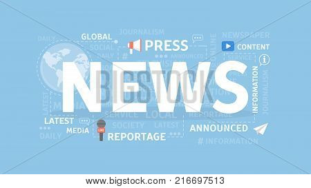 News concept illustration. Idea of reportage, announcements and press.