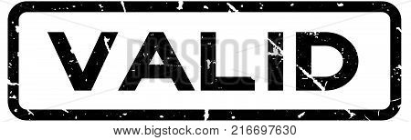 Grunge black valid square rubber seal stamp on white background