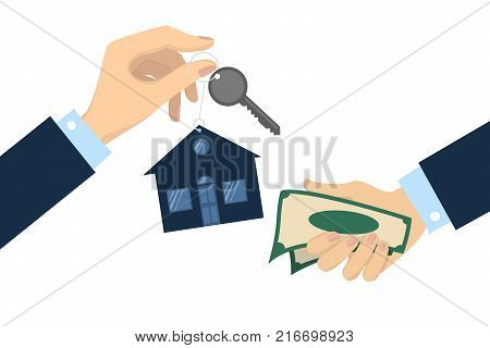 Bying the house. Hands with house keys and money.