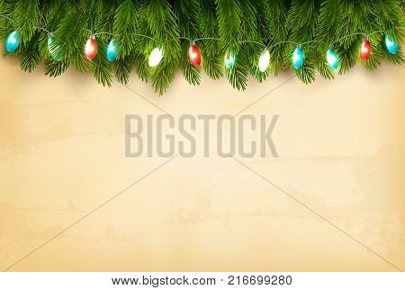 Christmas holiday decoration with branches of tree and colorful garland. Vector.