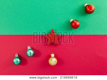 Christmas Star And Balls On Green And Red Centred