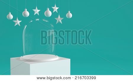 Empty glass dome with white tray on white podium on pastel green background with hanging white balls and stars ornaments. For new year or Christmas theme. 3D rendering.