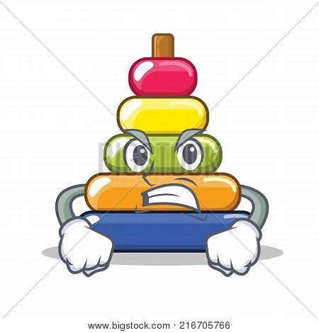 Angry pyramid ring character cartoon vector illustration