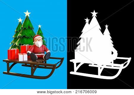 3d rendering of Santa Claus sitting on a sleigh with gift boxes and Christmas tree isolated on blue sky background with alpha channel section for split background by separated in the center of the image and use the right side for an alpha channel.