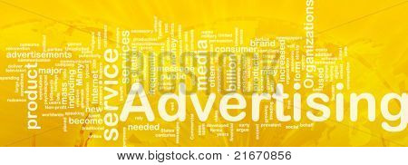Word cloud concept illustration of media advertising international