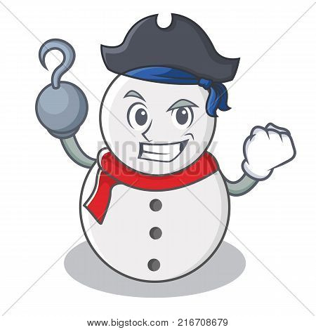 Pirate snowman character cartoon style vector illustration
