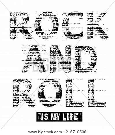 Rock and roll ia my life, grunge vector image