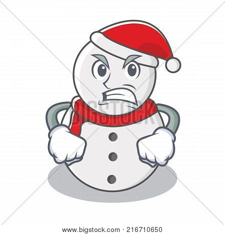 Angry snowman character cartoon style vector illustration