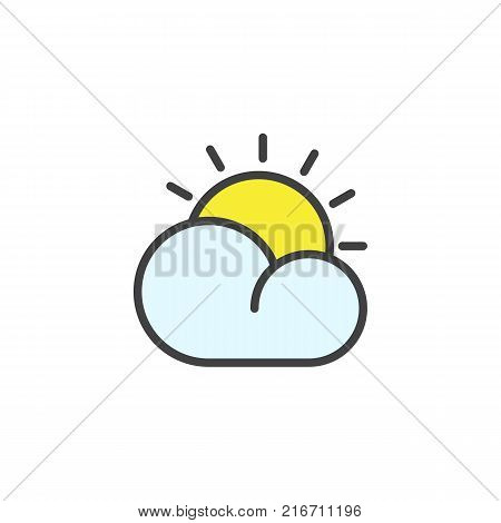 Cloud and sun filled outline icon, line vector sign, linear colorful pictogram isolated on white. Partly cloudy day weather symbol, logo illustration. Pixel perfect vector graphics