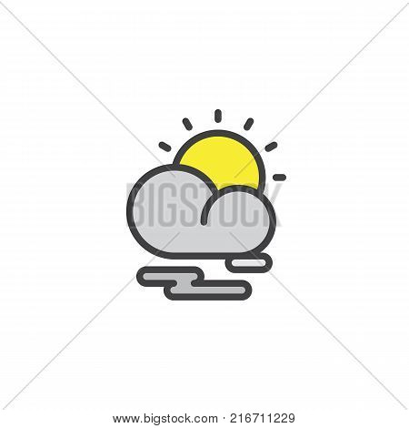 Partly cloudy weather filled outline icon, line vector sign, linear colorful pictogram isolated on white. Cloud sun and mist symbol, logo illustration. Pixel perfect vector graphics