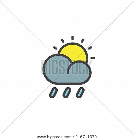 Rain cloud sun filled outline icon, line vector sign, linear colorful pictogram isolated on white. The sun and partly cloudy weather symbol, logo illustration. Pixel perfect vector graphics