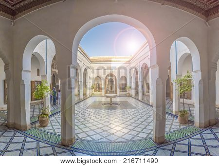 Bahia Palace Marrakech, Morocco - November 09 2017: Courtyard at El Bahia Palace Marrakech Morocco