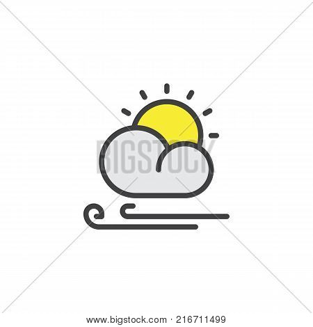 Sun cloud and wind filled outline icon, line vector sign, linear colorful pictogram isolated on white. Partly cloudy windy weather symbol, logo illustration. Pixel perfect vector graphics