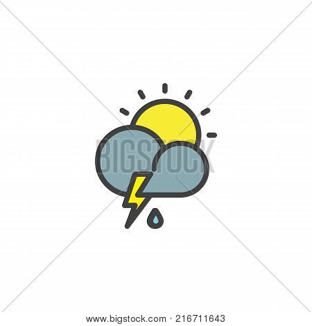 Cloud thunderstorm lightning rain filled outline icon, line vector sign, linear colorful pictogram isolated on white. Partly weather symbol, logo illustration. Pixel perfect vector graphics