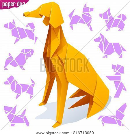 Vector origami paper dog. Yellow greyhound and icons of different breeds of dogs isolated on white background. Concept of Pet Shop or 2018 Chinese New Year symbol