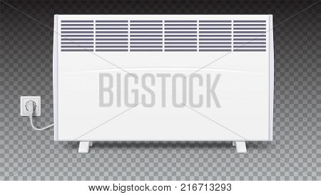 Domestic electric heater with plug and electric cord. Icon of home convector, 3D illustration. Electric panel of radiator appliance for space heating isolated on transparent background.