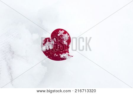 Freeze Red heart in white snow background, Love freeze concept