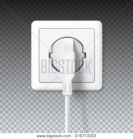 The plug is plugged into the power lines. White plug inserted in a wall socket. 3D illustration on transparent background. Icon of device for connecting electrical appliances, equipment