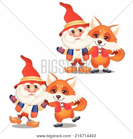 Set of funny smiling gnome and animated fox isolated on a white background. Sketch of Christmas festive poster, party invitation, other holiday card. Vector cartoon close-up illustration.